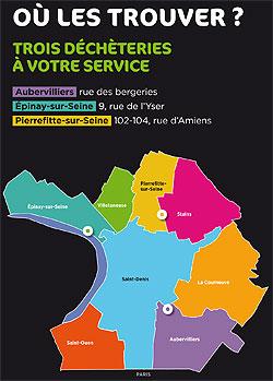 3 déchèteries à votre service : Aubervilliers, rue des bergeries. Épinay-sur-Seine 9, rue de l'Yser. Pierrefitte-sur-Seine 102-104, rue d'Amiens.
