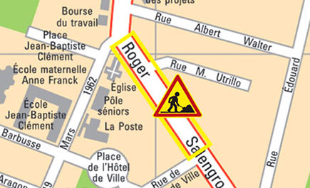 Fermeture d&aposun tronçon de la rue Maurice-Grandcoing