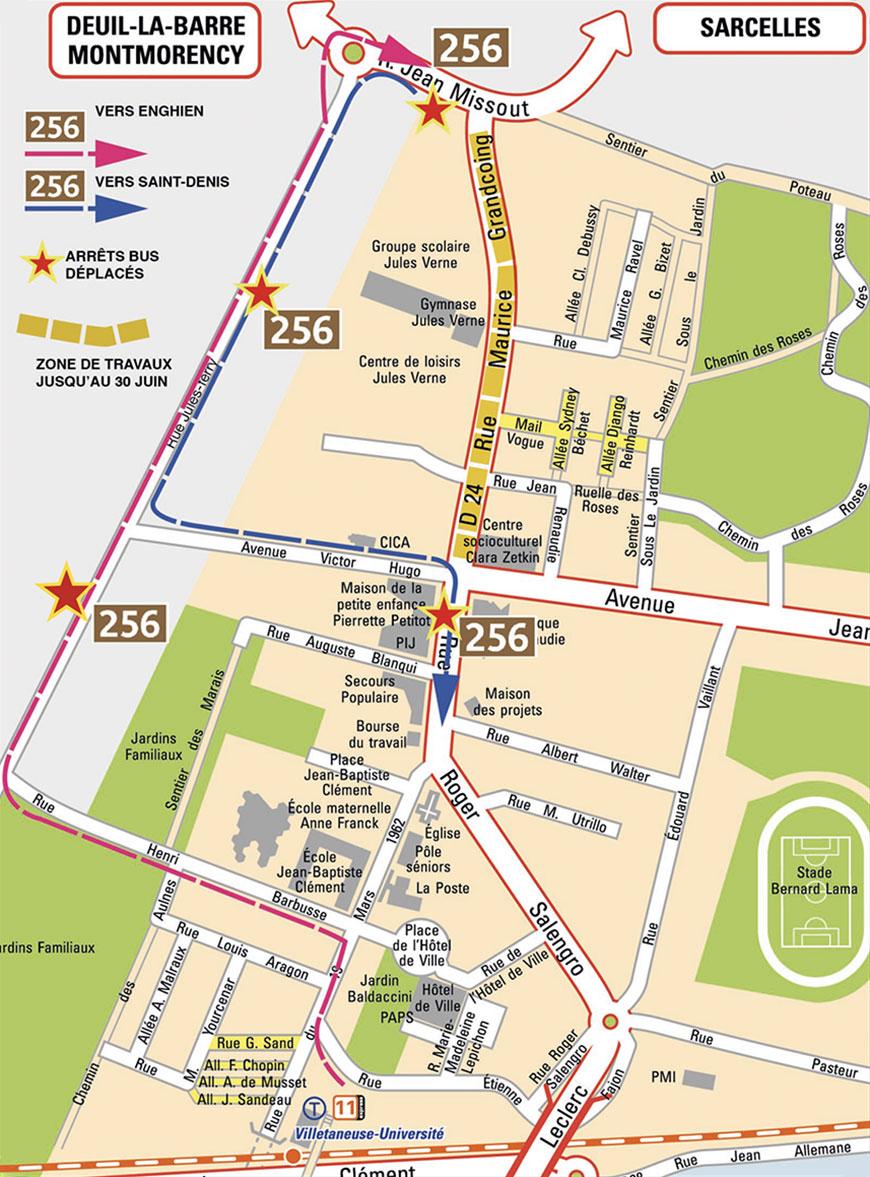 Itinéraire de substitution du bus 256