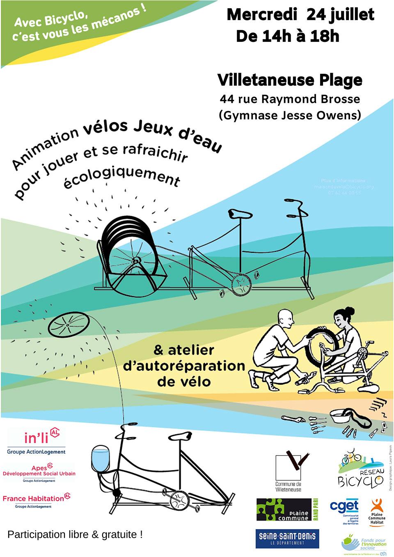 Autoréparation de vélo et jeux d&aposeau à la plage